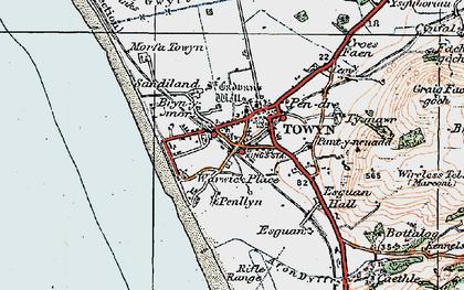 Old map of Tywyn in 1922