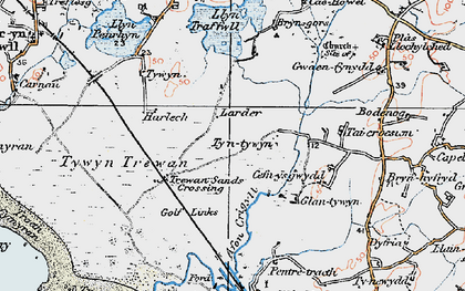Old map of Afon Crigyll in 1922