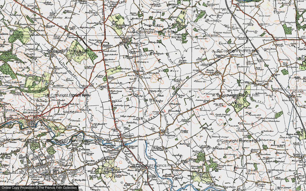 Old Map of Historic Map covering Lingy Moor in 1925