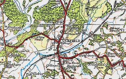 Old map of Uckfield in 1920