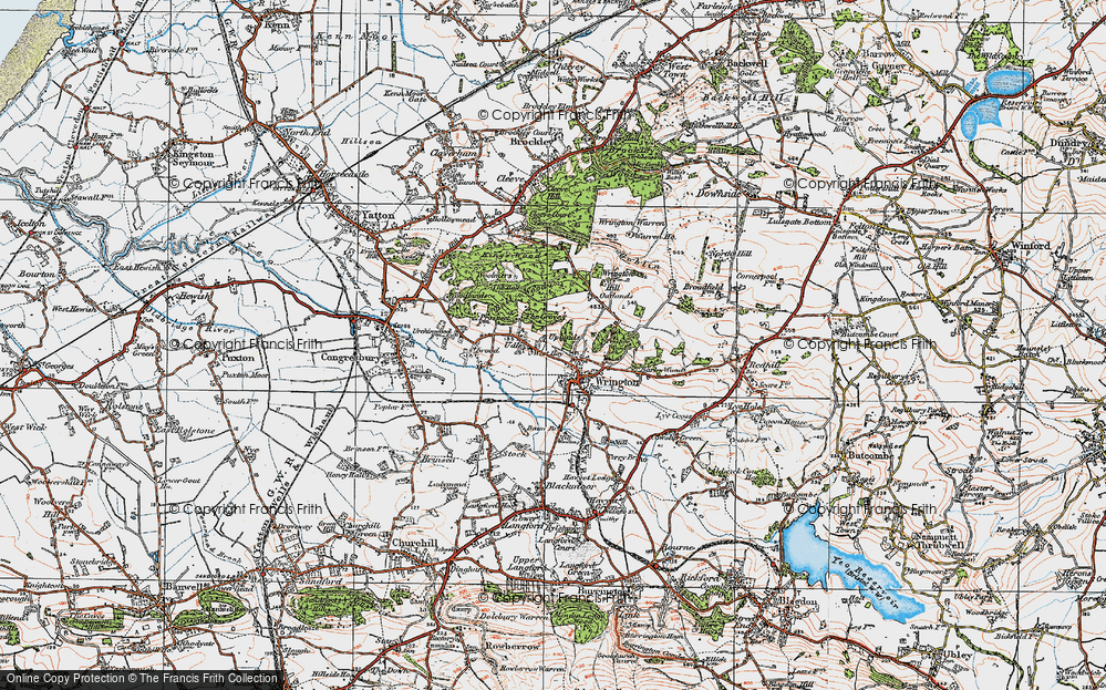 Old Map of Historic Map covering Wrington Hill in 1919
