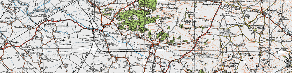 Old map of Wrington Hill in 1919