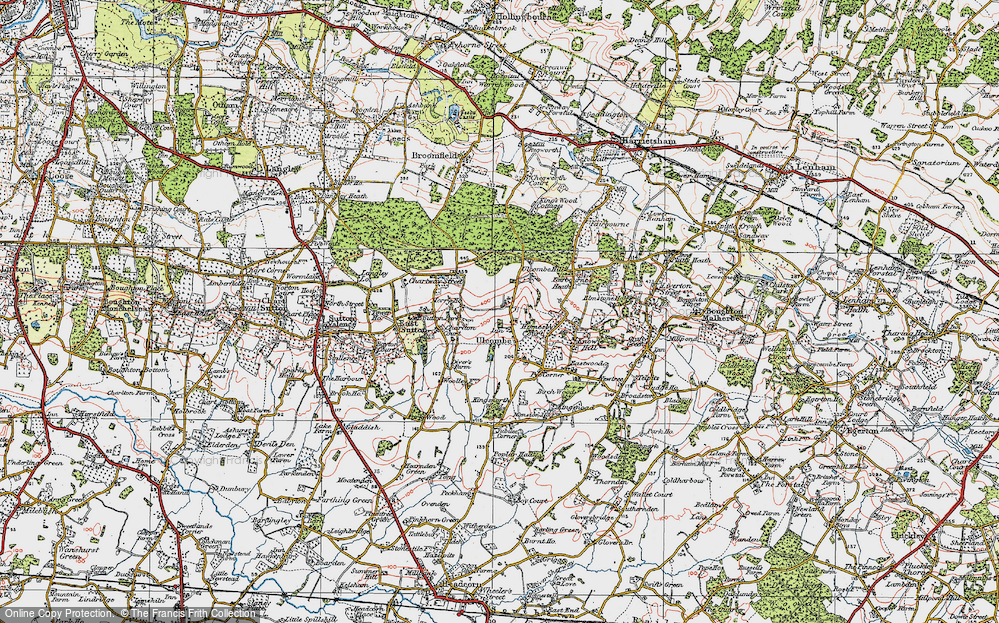 Old Map of Ulcombe, 1921 in 1921