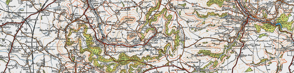 Old map of Uley in 1919
