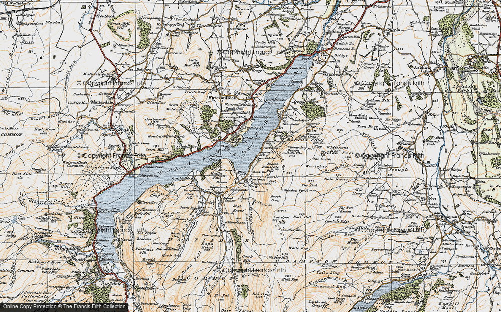Old Map of Historic Map covering Arthur's Pike in 1925