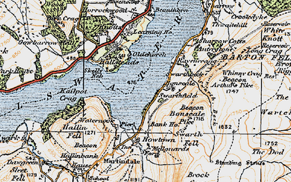 Old map of Arthur's Pike in 1925