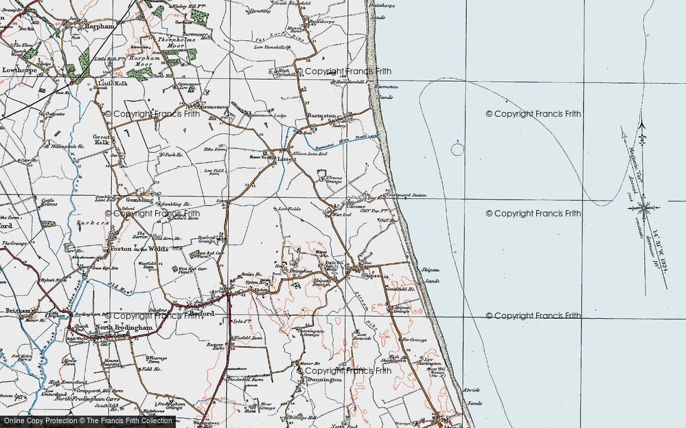 Old Map of Ulrome, 1924 in 1924