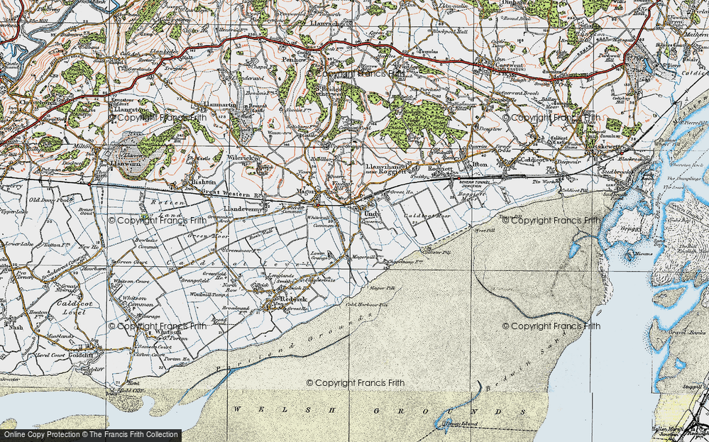 Old Map of Undy, 1919 in 1919