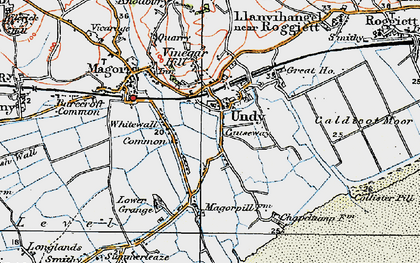 Old map of Undy in 1919