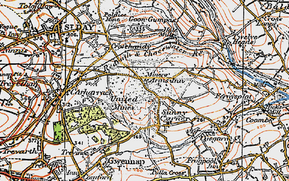 Old map of United Downs in 1919