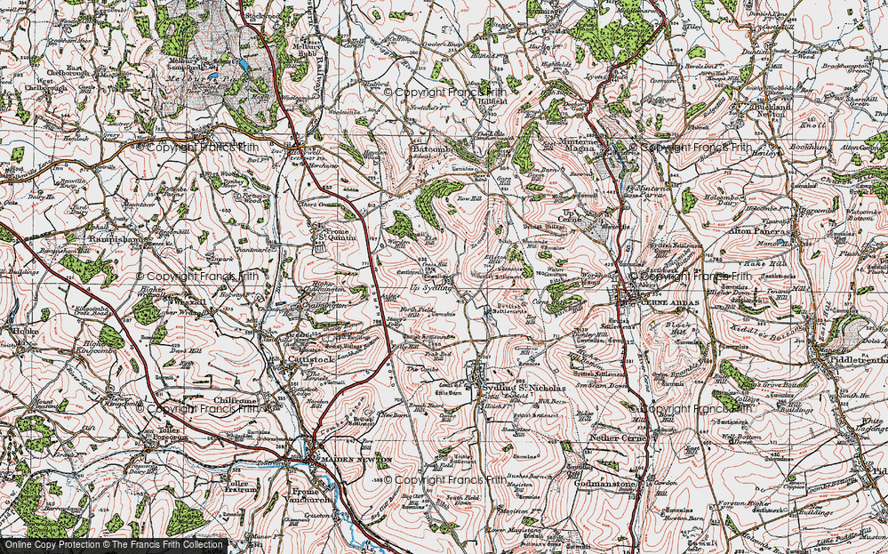 Old Map of Historic Map covering Ayles's Hill in 1919