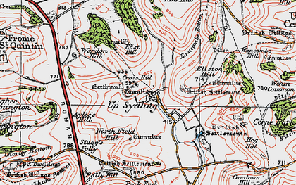Old map of Ayles's Hill in 1919