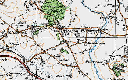 Old map of Upleadon in 1919