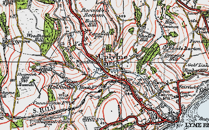 Old map of Uplyme in 1919