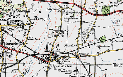 Old map of Upminster in 1920