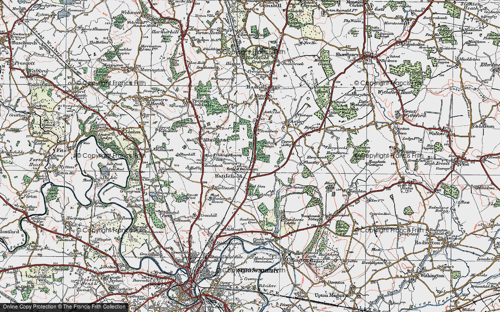 Old Map of Historic Map covering Albright Hussey in 1921