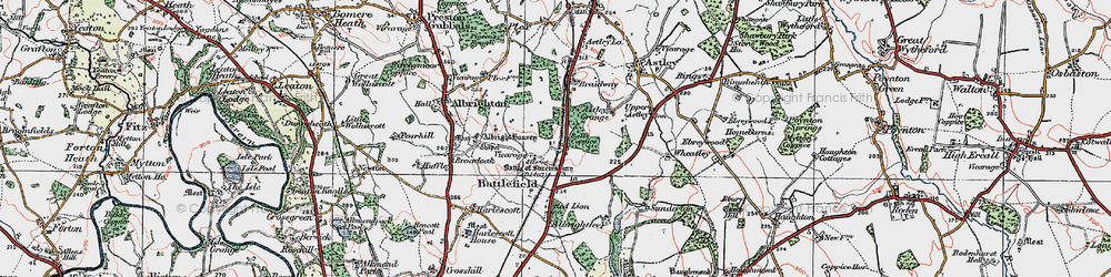 Old map of Albright Hussey in 1921