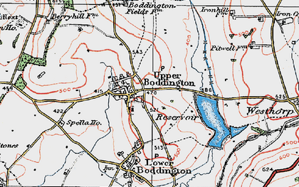 Old map of Upper Boddington in 1919