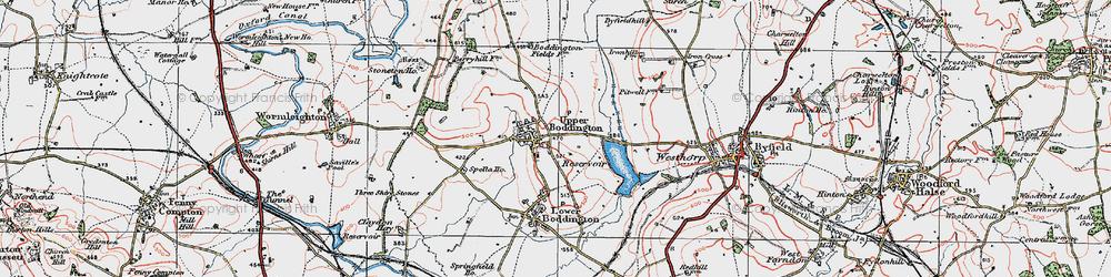 Old map of Upper Boddington in 1919