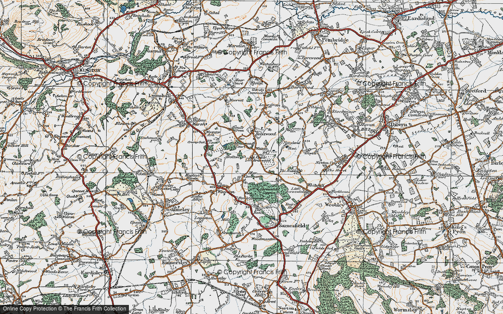 Old Map of Historic Map covering Wetton in 1920