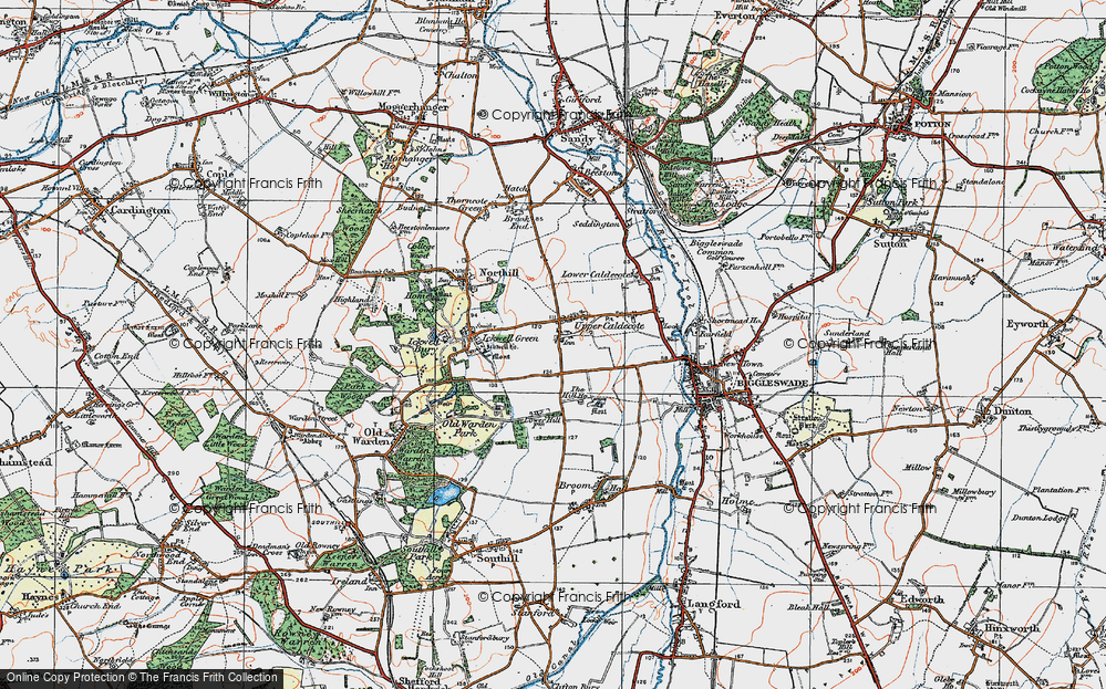 Old Map of Upper Caldecote, 1919 in 1919