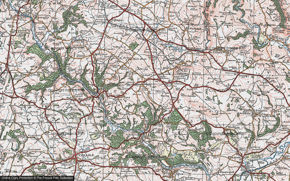 Old Map of Historic Map covering Lanehead in 1921
