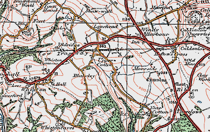 Old map of Lanehead in 1921