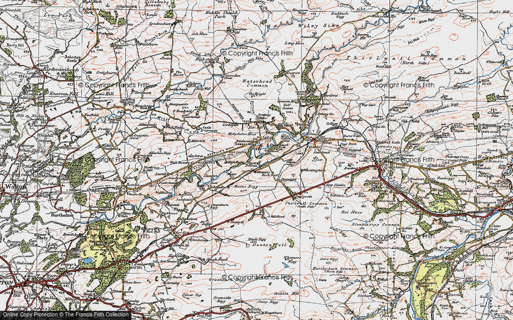 Old Map of Historic Map covering Banna (Roman Fort) in 1925