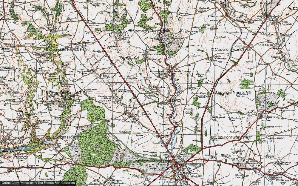 Old Map of Historic Map covering Bagendon Downs in 1919