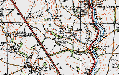 Old map of Bagendon Downs in 1919