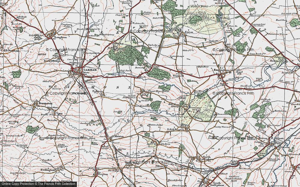 Old Map of Upper Hambleton, 1921 in 1921