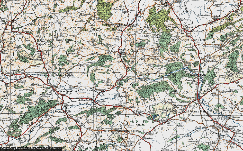 Old Map of Historic Map covering Lingen Vallet Wood in 1920