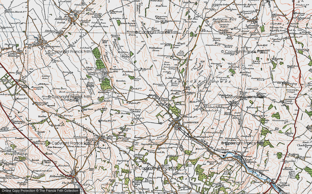 Old Map of Historic Map covering Whit Coombe in 1919