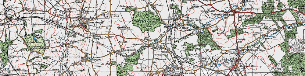 Old map of Upper Langwith in 1923