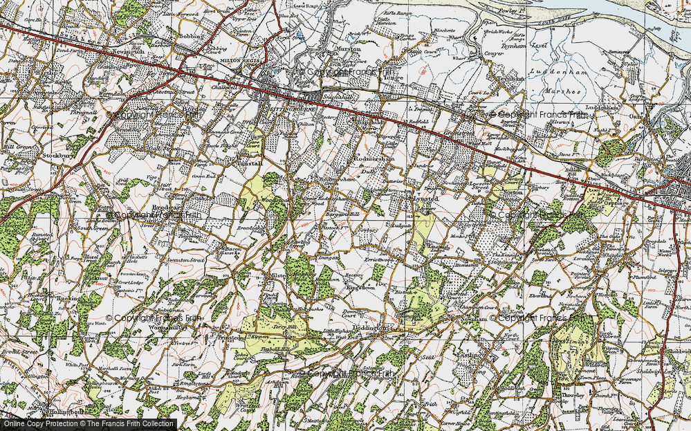 Old Map of Historic Map covering Bargains Hill in 1921