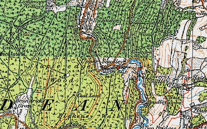 Old map of Upper Soudley in 1919