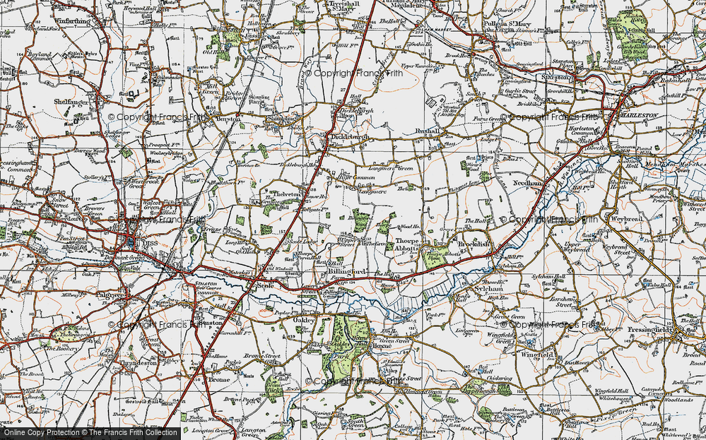Old Map of Historic Map covering Langmere in 1921