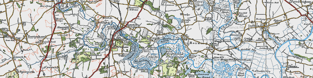 Old map of Wroxham Broad in 1922