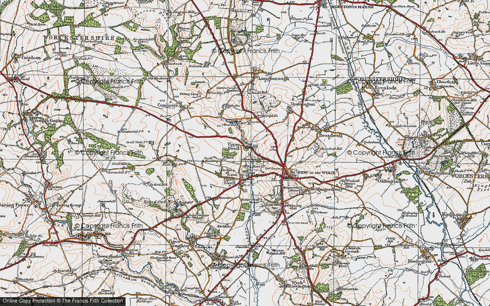 Old Map of Historic Map covering Abbotswood in 1919