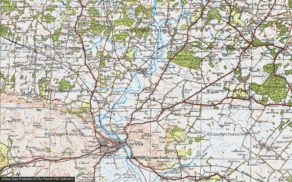Old Map of Historic Map covering Barcombe Ho in 1920