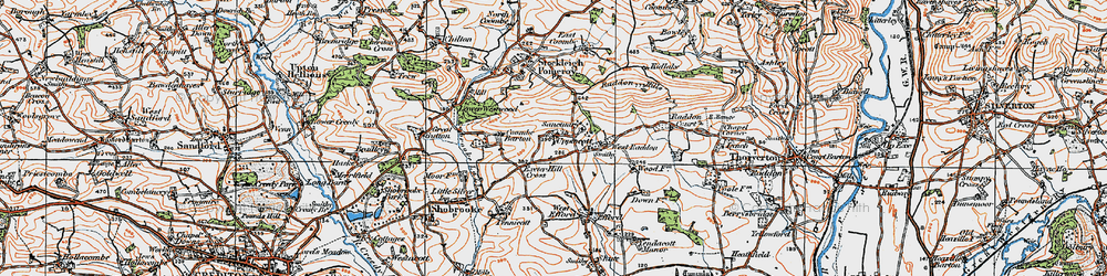 Old map of West Raddon in 1919