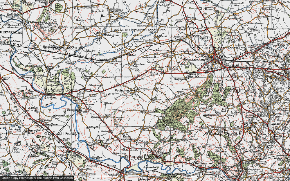Old Map of Historic Map covering Aston in 1921