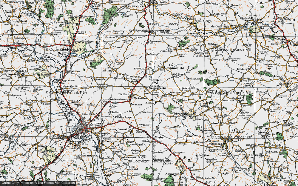 Old Map of Historic Map covering Badleys in 1921