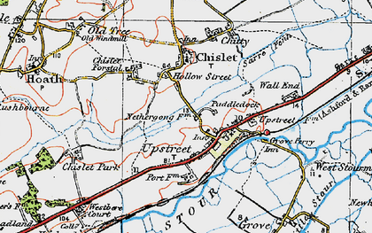 Old map of Upstreet in 1920