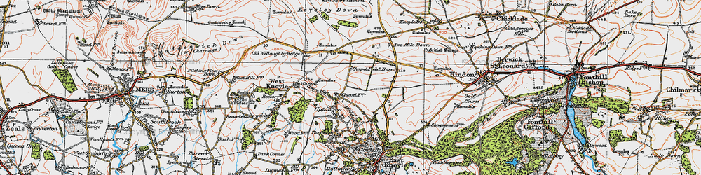 Old map of Willoughby Hedge in 1919
