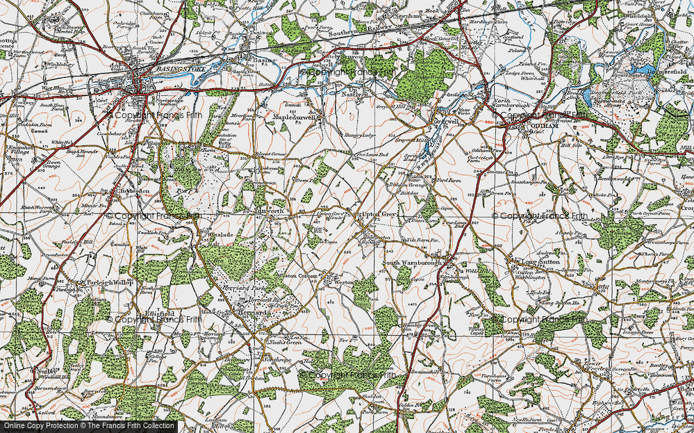 Old Map of Upton Grey, 1919 in 1919
