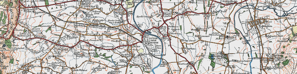 Old map of Upton upon Severn in 1920