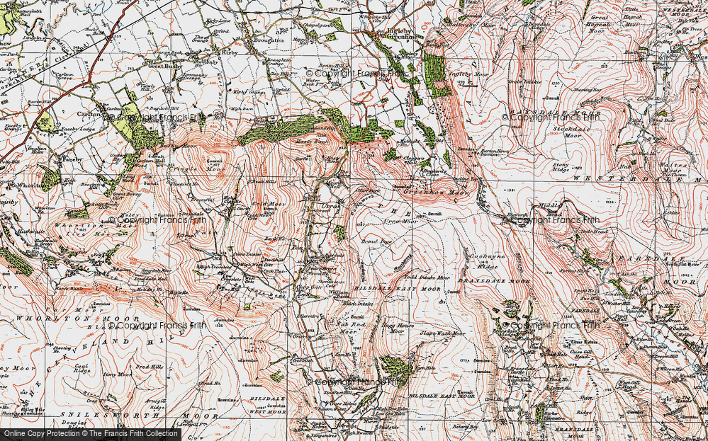Old Map of Historic Map covering Todd Intake Moor in 1925