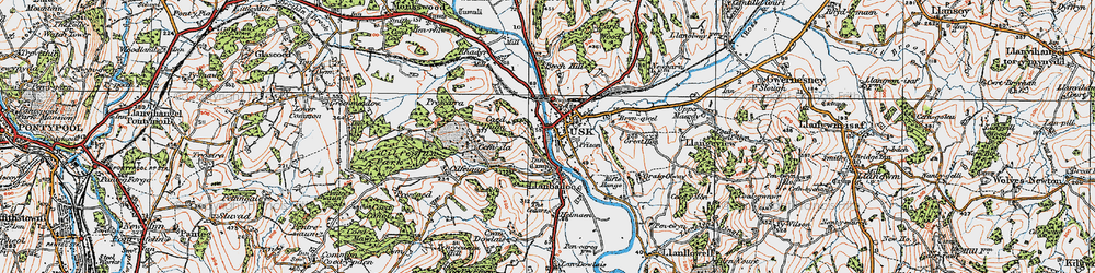Old map of Usk in 1919
