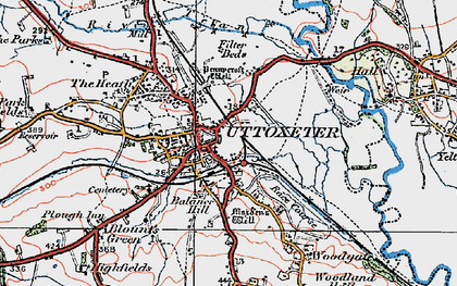 Old map of Uttoxeter in 1921